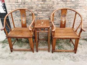 古董木艺老家具清代黄花梨镶嵌螺钿圈椅木器