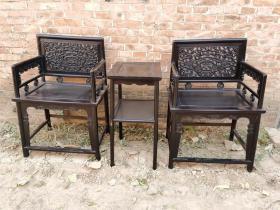 古董木艺老家具清代紫檀玫瑰椅老椅子