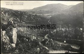 【影像资料】民国苏州风光名胜明信片_苏州城外天平山及远处灵岩山风貌,可见小路上一游人,画面古朴、颇为少见