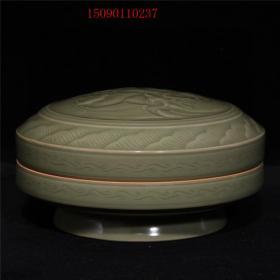 古董古玩老瓷器收藏 宋代越窑青瓷秘色瓷刻花印泥盒14*7.5CM