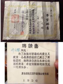 1942年康德9年 哈尔滨舆隆南国民优级学校毕业证书 1956年团校聘请书 同一个人