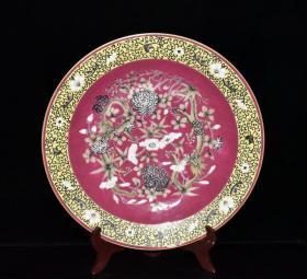 清,胭脂红粉彩龙纹花卉盘,五