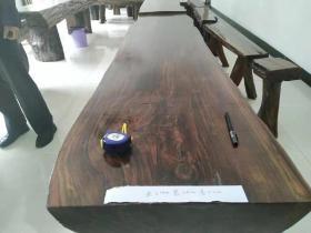 乌木金丝楠茶台,罕见完整板材。