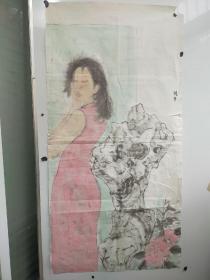 北京废品站收来  陈子  人物画稿 无印章 品相较差 尺寸136x68