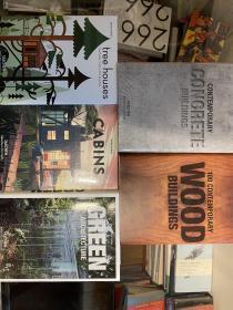 五本taschen 的建筑画册:绿色建筑、木质建筑、混凝土建筑、树屋、棚屋。