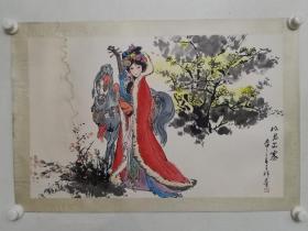 保真书画,画家张呈祥《昭君出塞》国画一幅,原装裱镜心,尺寸42×66cm