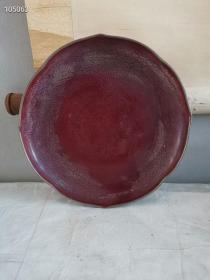 民间旧址宋代老窑窑变钧窑瓷器,一件少见的通体窑变红完整荷叶水洗,属文房用器,呈荷叶奇特造形,尊贵的钧变水洗,长年浸色呈开片纹理,依就如玉釉色