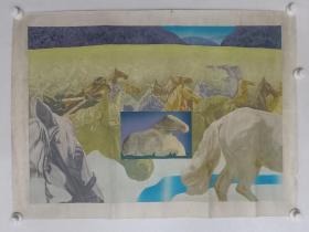 保真书画,中央美院副教授,版画系副主任张烨作品《沃土》一幅,后面有展览原签。尺寸58×83cm。