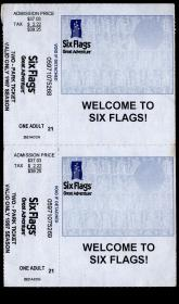 """[外国旅游门票/门券/参观券/游览券][BG-D4]美国""""世界三大主题乐园""""之一六旗游乐园1997年门票2连/39.25美金,9.3X7.6厘米X2。"""