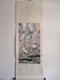 韩天衡花鸟画绢裱立轴,包老包手绘。