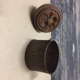 潮州木雕:樟林绿豆糕印一套04双石榴铜模