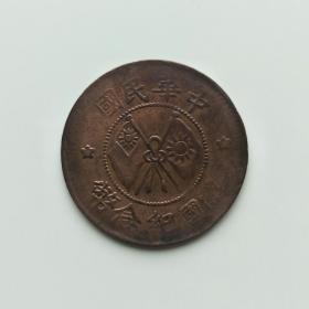 中华民国 开国纪念币(132) 二十文 保真 包老