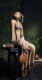石湾窑早期名家执扇美女造像