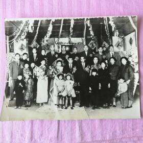 老照片 民国婚礼照片 (有民国旗25.2*19.5cm)