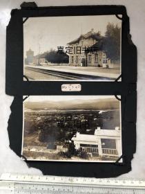 民国时期内蒙古呼伦贝尔札兰屯火车站(扎兰屯火车站)老照片2张