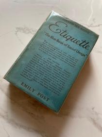 英文 布面精装 《Etiquette. the blue book of social usage》complete new edition 作者 Emily Post 1941年出版 (有毛笔题字)