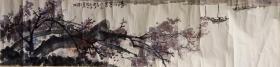 佚名戊辰1988年原装原裱山水画横幅【清江暮色】画心尺寸:135*33厘米,【约4平方尺】