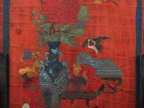 收藏木胎漆器插花博古纹插屏高28厘米