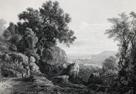 1865年 维也纳美景宫 钢版画 卡尔·马可 风景 27×21厘米