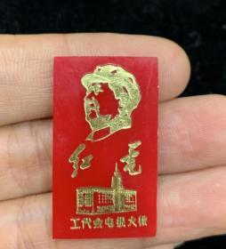 少见派性章---红电工代会电报大楼
