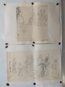 约解放初期  华三川  手绘临摹白描人物画2幅 旧托 尺寸34x30,53x30