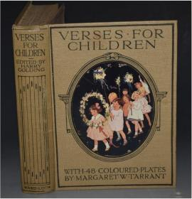 1925年 Verses for Children 经典儿童绘本《童谣歌集》著名插图画家Margaret Tarrant48张彩色插图 品相上佳