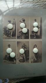 【超珍罕】清代 法国巴黎人体艺术 大幅蛋白照片一张,照片尺寸为20.5X17.5厘米,收录了六张女性唯美全裸人体影像