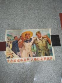 大办农业夺高产大寨红花遍地开(文革罕见2开宣传画)