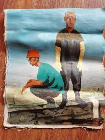 手绘油画农民工