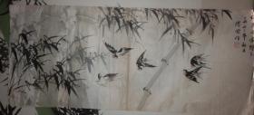 著名画家、人民艺术家  缪宏先生《竹燕图  之二  燕影翩跹翠竹间》