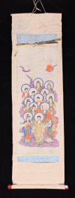 【日本回流】原装旧裱 佚名 套色版画《佛陀说法》 一幅(纸本立轴,画心尺寸24cm*61cm)HXTX200631