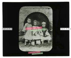清代民国玻璃幻灯片-----民国时期穿传统中国服装服饰的儿童老玻璃幻灯