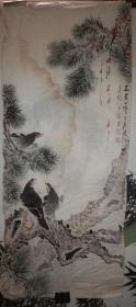 常州著名画家 房少臣 精美国画之二《松树栖禽图》