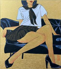 当代著名青年画家李嘉儒老师精品(墨、丙烯)绘画作品,有合影