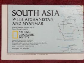 National Geographic国家地理杂志地图系列之1997年5月 South Asia with Afghanistan and Myanmar 南亚地图
