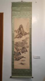 清末画家南田款老绢本绫裱(柳溪遊舟图)130*43cm木轴头老桐木盒子
