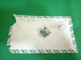 1955年实寄封、贴天安门肆佰圆邮票点线戳