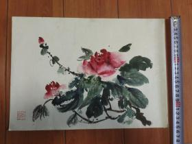 颜文樑弟子著名水彩画家娄中国.绘鲜花图.尺寸36*25