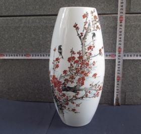 出口创汇期精品:景德镇徐有为制     手绘梅花小鸟橄榄瓶