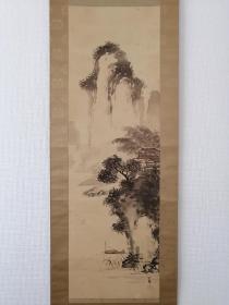 竹内栖凤 山水图 手绘 木箱 古画 回流字画 日本回流