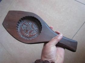老模具民国手工雕刻包浆好梅花图糕点面食品月饼印模精品包老厚重