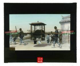 清代民国玻璃幻灯片-----清末民国时期中国南方优雅而精致的四人轿子老玻璃幻灯