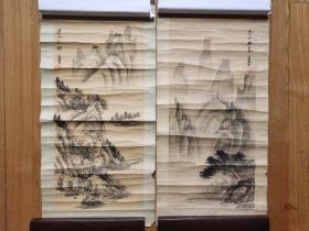 旧  凌云《山水》作品两张,绢本原裱。
