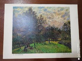 油画25     夕阳下的苹果树和杨树    8开    武汉市教师进修学院革命委员会图书室