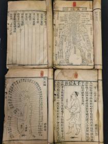 《针灸大成》木刻本,卷三、卷五、卷七、卷八共四册,带精美古代人物画