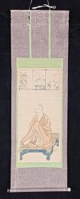 【日本回流】原装旧裱 佚名 国画作品《法印觉仁像》一幅(纸本立轴,画心约1.3平尺)HXTX200769
