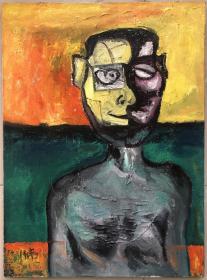 【刘炜】布面油画,抽象人物油画,带内框,75x55cm
