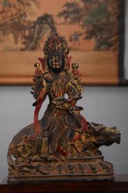 收藏纯铜泥金彩绘文殊菩萨造像 一尊摆件高32厘米
