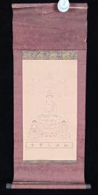 【日本回流】原装旧裱 佚名 黑白版画《佛造像》 一幅(纸本立轴,画心尺寸0.4平尺,款识钤印:越后乙宝寺)HXTX200735