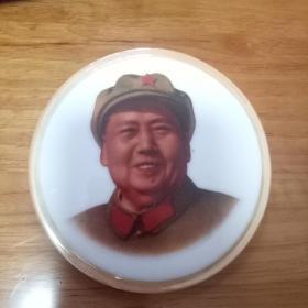 毛主席特大瓷像章---毛主席笑眯眯--(包老,保真)长11宽11